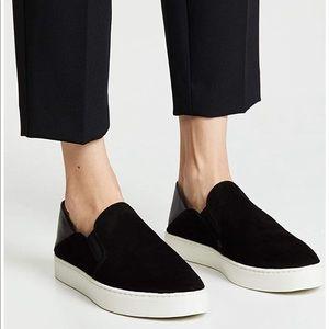 New Vince Garvey Suede Slip-On Sneakers, Black 9.5